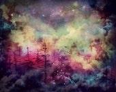 Tree Painting Fine Art Print, 8x10 wall art, purple abstract art,