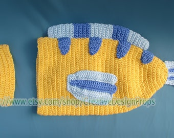 Fish Disney Costume for Baby - Flounder Cocoon and Hat set, newborn outfit - Halloween, photo prop or gift for baby shower