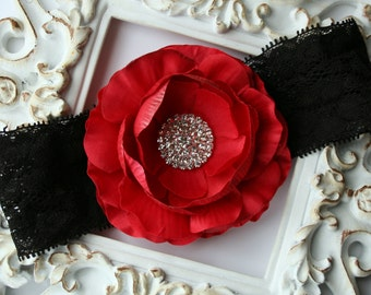 Red and Black Flower Headband..Rhinestones..Baby Girl Red Flower Headband..Large Flower Headband..Lace Headband..Baby Headband..Newborn Prop