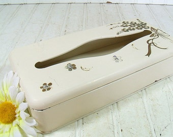 Vintage Ivory & Gold Enamel Over Metal Tissue Box - Shabby Chic Ransburg Rhinestone Vanity Case - Retro Hollywood Glam Chest