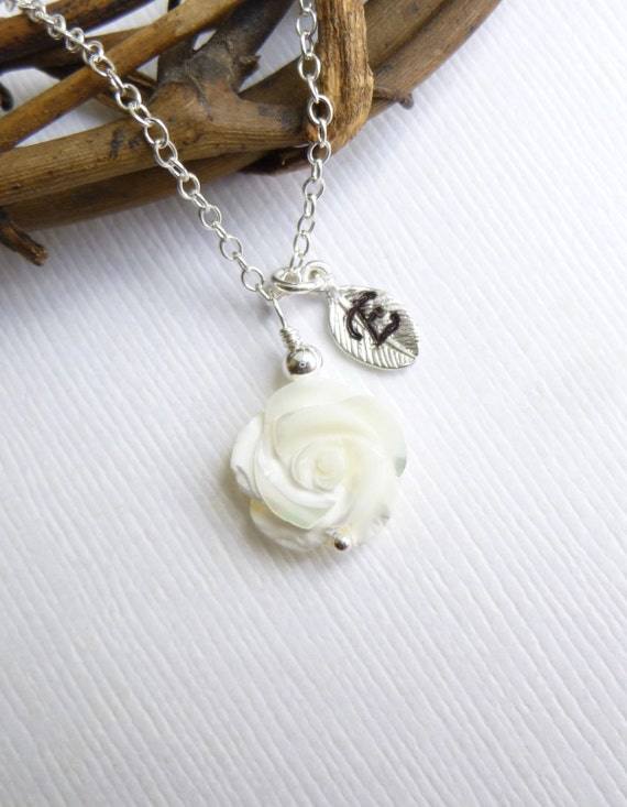Carved Mother of Pearl Rose Necklace with Initial Leaf on Sterling Silver Chain -- Personalized Bridesmaids Gift