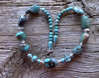 Turquoise,magnesite, silver bead caps necklace 18 1/2 inch