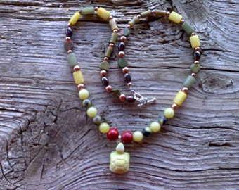 New jade,serpentine,coral,copper,unakite,glass, beaded necklace 20 inch