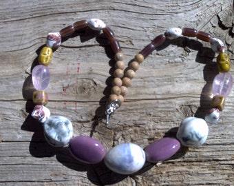 Ceramic,stone,glass beaded necklace 23 inch