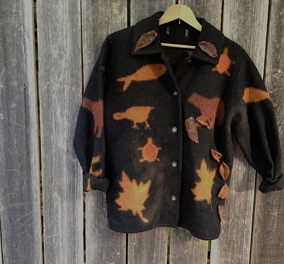 RESERVED for GD spice cinnamon camp hike wool Felted outback black Cinnamon Felt upcycled  Appliquéd Warm Jacket Leaves Rustic Shabby Chic