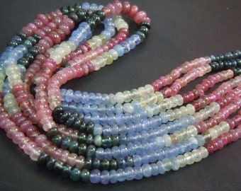 Multi Sapphire Gemstone Smooth Rondelle Beads Size 5MM Approx 14'' AAA High Quality  Wholesale Price