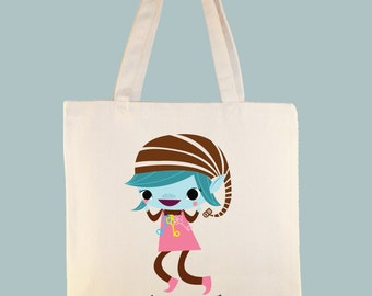 Personalized Brownie, Girl Scout, Brownie Character Tote -- selection of tote sizes available