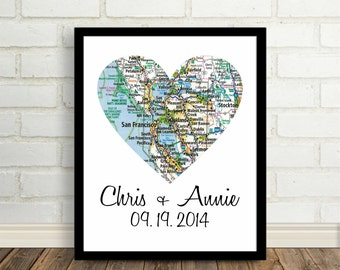 Valentines Day Gift City Print Map Heart PosterAny City Available Worldwide Office Art Modern Wall Art City Love Heart Map Print