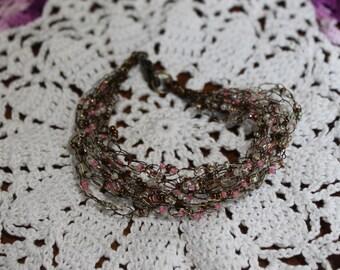 Pink and White Handmade Crocheted Bracelet