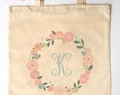 Custom Printed Initial Tote for Bridesmaid Flower Girl Maid of Honor - Monogram Tote Bag for Weddings