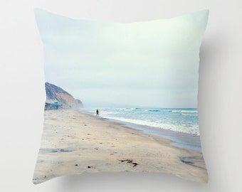 Surfer Pillow Beach Decor Throw Pillow, Surf Pillow, San Diego Torrey Pines Ocean Decor Pillow Cover