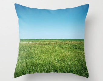 Green Grass Pillow, Blue and Green Home Decor, Decorative Throw Pillow Cover, Saskatchewan Prairie Landscape