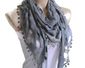 Mother's day gift, Necklace scarves, Traditional Turkish-style, Fashion scarf, Grey scarf, unique gift,  pom pom scarf