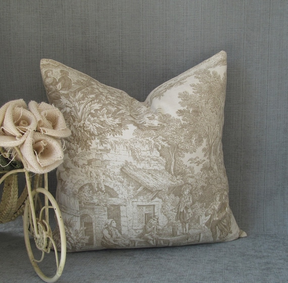 Sweet Pastimes Beige TOILE Decorative Pillow Cover Throw Pillow HANDMADE in USA