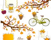 BLISS - Fall & bicycle, clip art set in premium quality 300 dpi, Png and Jpeg files. INSTANT DOWNLOAD.