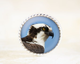 Osprey Brooch, Silver Bird Pin, Raptor Sea Bird Broach, Nature Photography Jewelry