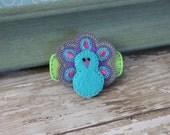 Purple Feathered Peacock Felt Hair Clip- Ready to Ship