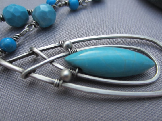 Turquois Howlite Marquis  Bead wire wrapped in Sterling Silver Necklace / Hammered necklace/