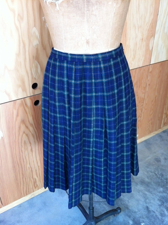 blue and green plaid pleated skirt