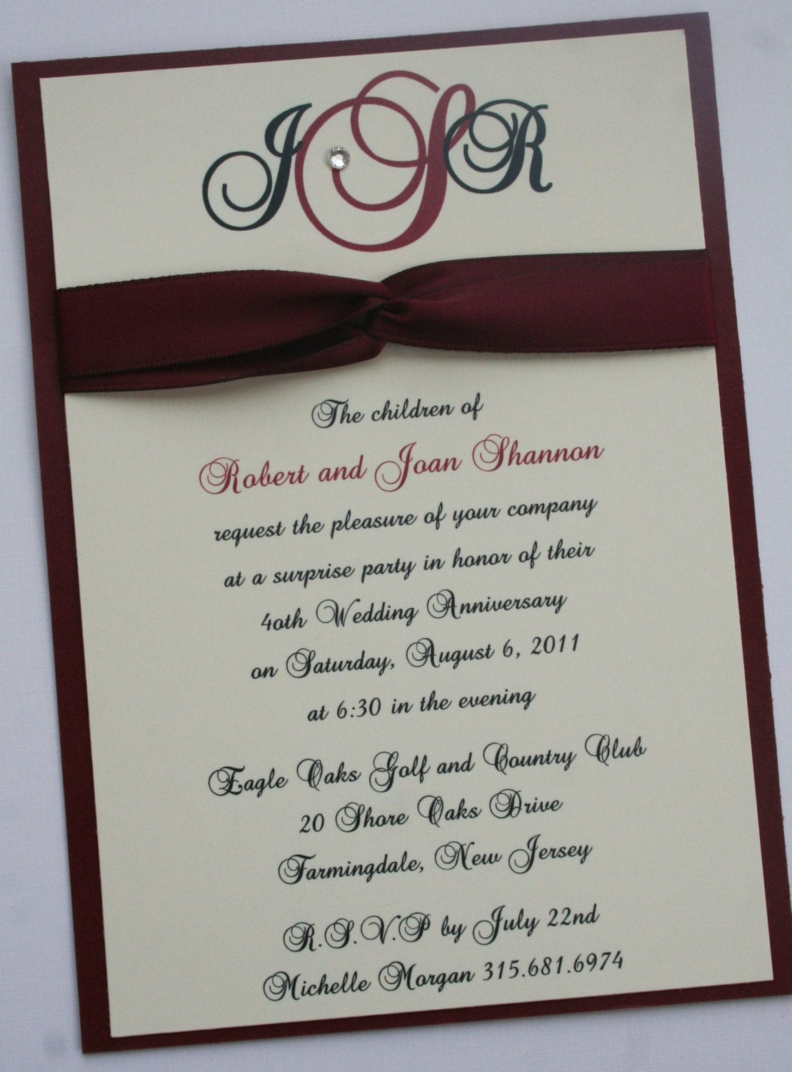 40th ruby wedding anniversary invitation. Black Bedroom Furniture Sets. Home Design Ideas