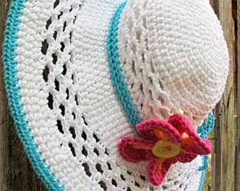 Free Pattern Crochet Wide Brim Hat : CROCHET PATTERN - Aloha - a wide brimmed sun hat with ...