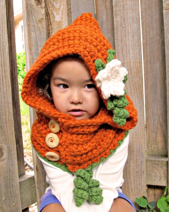 CROCHET PATTERN - Pumpkin Patch Hoodie - a hood w/ flower and cowl in 3 sizes (Toddler, Child, Adult) - Instant PDF Download