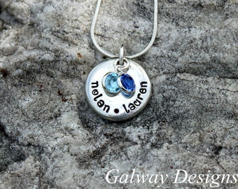 Hand Stamped SMALL Pewter Pebble with Swarovski crystal birthstone drops.