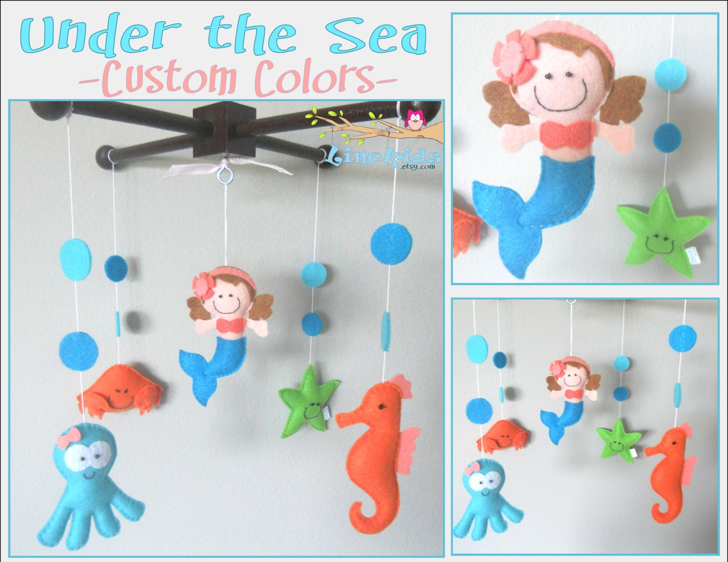 Baby crib mobile sea animals mobile custom made mobile little for Sea animal baby mobile