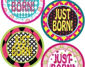 ADD ON Just Born Stickers for Baby, Just Born Stickers  - Geometric Girl - Just Born Stickers -Baby Shower Gift - Baby