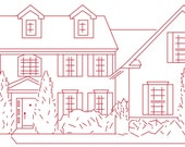 Redwork Embroidery Pattern of Your House