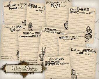 Printable 3x4 inch Alice in Wonderland journal Cards suitable for Project Life Instant Download Digital Collage Sheet VD0480