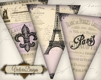Pink Paris Banner printable party banner paris party vintage printables digital graphics instant download Digital Collage Sheet - VD0735