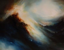 """Large Canvas Abstract Oil Painting by Artist Simon Kenny """" Between Heaven and Earth"""""""