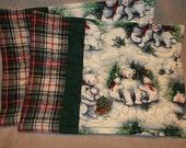 Mug Rug Polar Bears, Pine  with a red, green white plaid