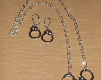 SALE Was 21.99 Now 19.99/Arrest My Heart/Handcuff necklace and earring jewelry set/police officer jewelry