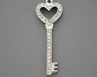 1 Large Rhinestone and Silver HEART KEY Charm Pendant, 48mm x 17mm . chs1003