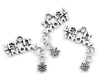4 Silver Pewter LET IT SNOW Snowflake Moveable Charm Pendants chs0664
