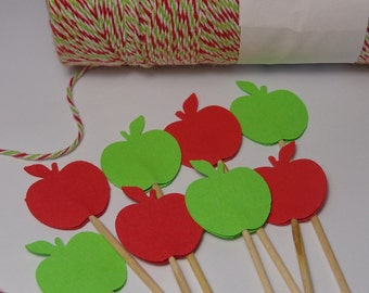 24 Red and Green Apple Cupcake Toppers - Food Picks - Party Picks -  Back to School Party Picks - Autumn Party