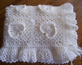 New Crocheted Hearts Afghan for Baby in Snow White or mauve.