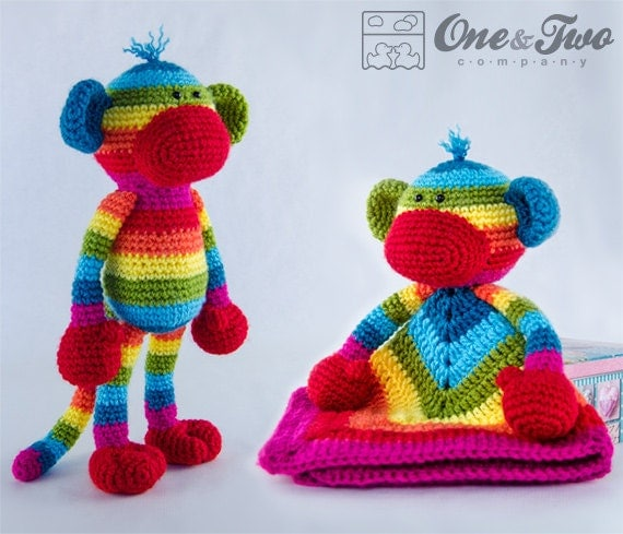 Amigurumi Crochet Sock Monkey : Combo Pack Rainbow Sock Monkey Lovey and Amigurumi Set for