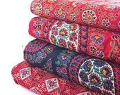 Vintage Fabrics Fat Quarter 4-Pack: Red Paisley Black Paisley, Red Square, Red Flower