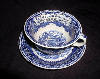 Vintage Breakfast Set Blue & White Staffordshire Giant Cup and Saucer Old British Anchor Pottery