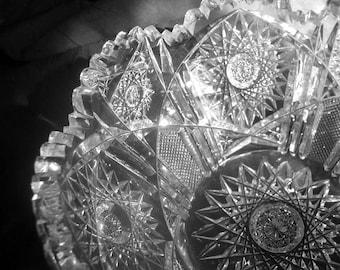 Vintage Victorian American Brilliant Cut Glass Fruit Bowl 1890-1906 Collectible Antique Serving