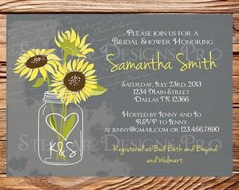 Sunflowers Mason Jar Bridal Shower Invitation,Vintage Mason Jar Invitation,Gray, Brown, Mason Jar, Sunflower, Wedding Shower, 5249
