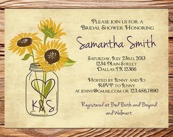 Sunflowers Bridal Shower Invitation,Rustic Sunflowers,Vintage Mason Jar Invitation,Gray, Brown, Mason Jar, Sunflower, Wedding Shower, 5145