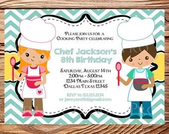 Little Chef Birthday Party Invitation, GIRL, Boy, Baker Birthday Party, Cooking Birthday Party, Teal, Chevron Stripes, 138