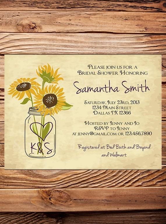 sunflowers bridal shower invitationrustic by stellardesignspro, Bridal shower invitations