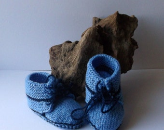 Hand knit baby boys laced booties or shoes.  6 - 12 months. Light blue and navy.