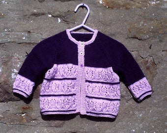 "Hand knitted baby girls pink and purple cardigan. 20"" chest. 2 toned baby cardigan."