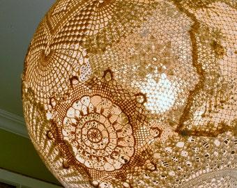 Shabby chic 18 doily pendant light fixture globe for Doily light fixture